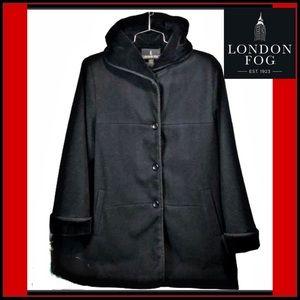 LONDON FOG BLACK WOOL HOODED VELVET Sz M COAT